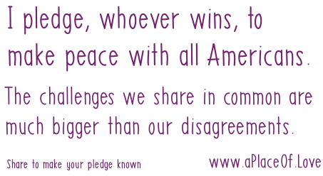 I pledge to make peace with all Americans. Our challenges are much bigger than our disagreements.